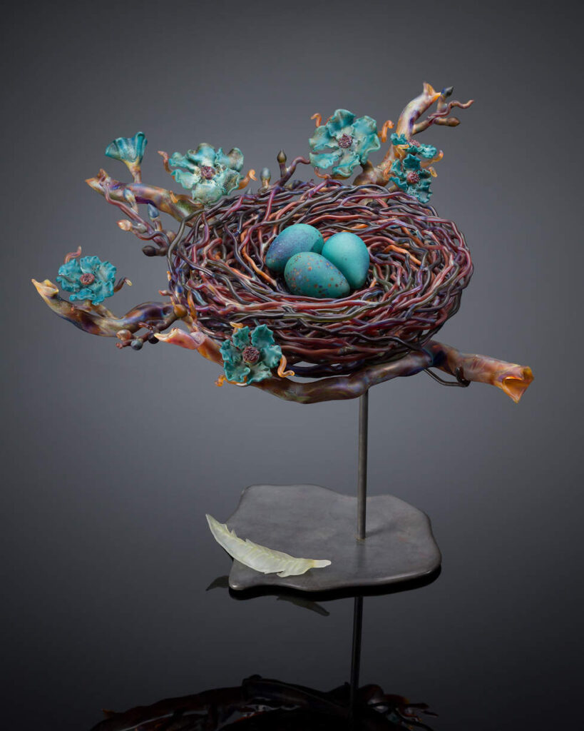 Demetra Theofanous - Blue Floral branch with nest